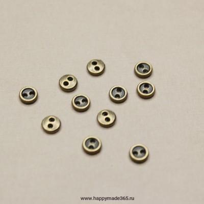 Пуговицы мини металлические 5 мм (бронза)