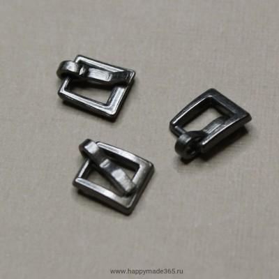 Пряжка для ремня прямоугольная (темное серебро), 7х7 мм