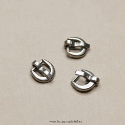 Пряжка для ремня круглая (светлое серебро), 6х7 мм