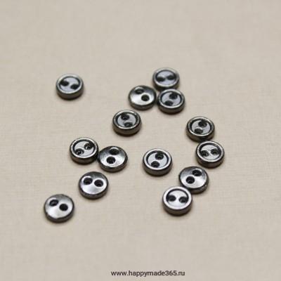 Пуговицы мини металлические 5 мм (темное серебро)